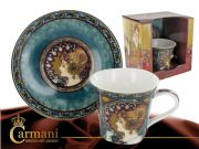 Classic Porcelain Mug and Saucer decorated with Mucha paintings